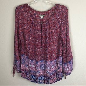 LUCKY BRAND Red White and Blue Boho Top
